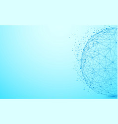 global network wireframe and lines and triangles vector image