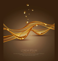 gold brown abstract background with waves and vector image