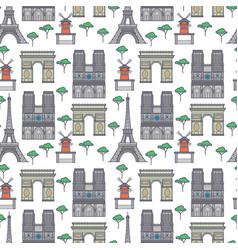 paris landmarks seamless pattern vector image vector image