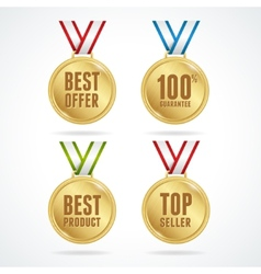 Set of medals Sale concept vector image vector image