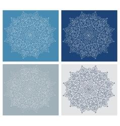 Set of vintage snowflake on blue background vector image vector image