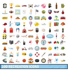 100 recreation icons set cartoon style vector image