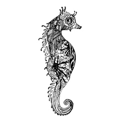 Abstract graphic sea horse print vector image