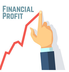 finger drawing growth chart financial profit and vector image vector image