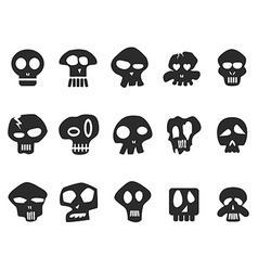 funny skull icons set vector image vector image
