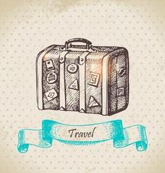 Hand drawn vintage background with travel suitcas vector image vector image