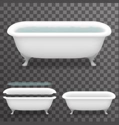 retro bath with water realistic 3d parallax vector image vector image