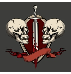 Two skulls with tattoo vector image