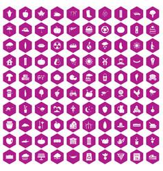 100 pumpkin icons hexagon violet vector