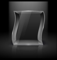 empty glass showcase in wave form with spot light vector image