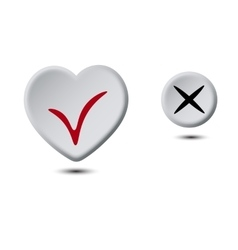 Heart button and circle button vector image