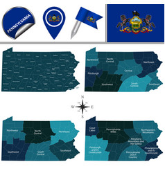Map of pennsylvania with regions vector