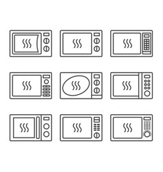 microwave oevn icon set vector image vector image