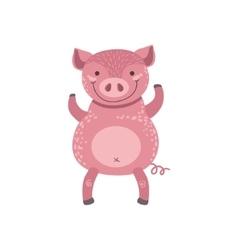 Pink Pig Standing On Two Legs vector image vector image