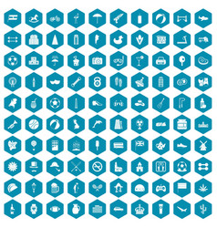 100 ball icons sapphirine violet vector