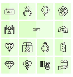 14 gift icons vector