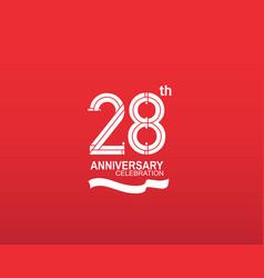 28 anniversary logotype flat design white color vector
