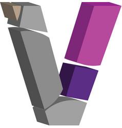 3d font letter v vector image