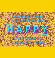80 s retro alphabet font vintage alphabet vector image