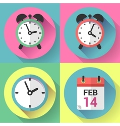 Alarm clock office clock and calendar with a date vector image