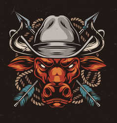 Angry red bull head in cowboy hat vector
