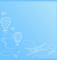 banner with hot air baloons flying in the sky vector image
