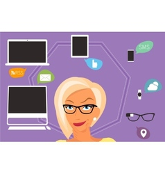 Blond woman thinking about gadgets and vector