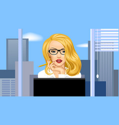blonde business woman in glasses in front of the vector image