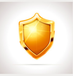 bright golden glossy shield on white vector image