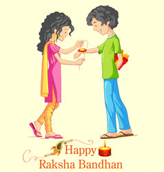 brother and sister tying rakhi on raksha bandhan vector image