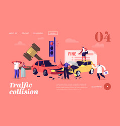 Car accident on road landing page template driver vector