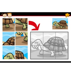 Cartoon turtle jigsaw puzzle game vector