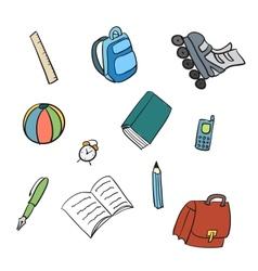 Colorful School Carton Items vector image