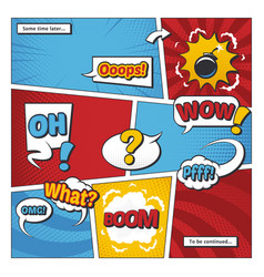Comic book page template with cartoon vector