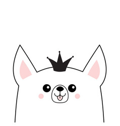 Corgi dog happy face head icon princess crown vector