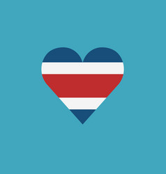 costa rica flag icon in a heart shape in flat vector image