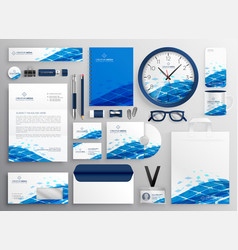 Creative business stationery design in blue vector