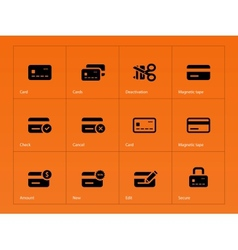 Credit card icons on orange background vector image