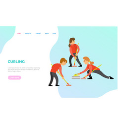 curling team people playing game together web vector image