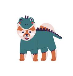 Cute cartoon dog in funny dinosaur costume vector