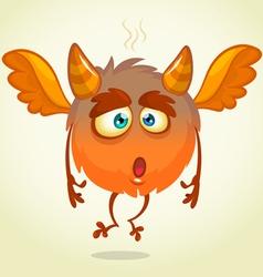Cute cartoon flying monster surprised vector
