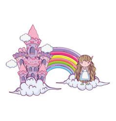 Cute little fairy with rainbow and castle vector