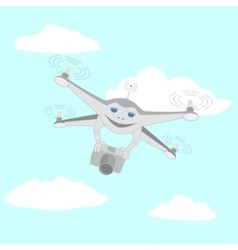 Drone with camera in the sky vector