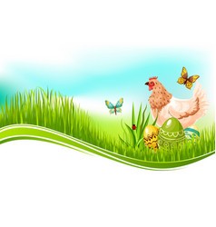easter template of paschal eggs and chicken vector image
