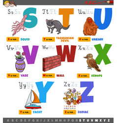 educational cartoon alphabet letters set from s vector image