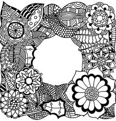 Ethnic floral zentangle vector