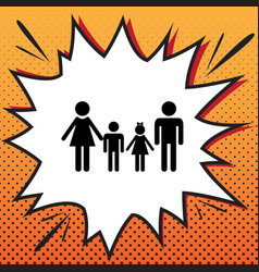 Family sign comics style icon on pop-art vector