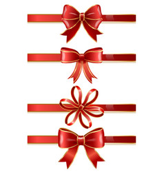 festive red bows and ribbons decor for boxes vector image