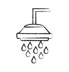 Figure plumbing tube shower with water drops vector