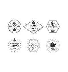 Fishing camp logo wildlife travel adventure vector